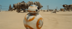 R2D2 moves across a Star Wars set